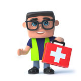 3d Health and safety officer carries a first aid kit. 3d render of a health and safety officer holding a first aid kit Stock Photos