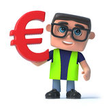 3d Health and safety officer holds Euro currency symbol Royalty Free Stock Photo
