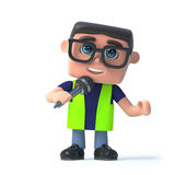 3d Health and safety officer speaks into the microphone Stock Photos