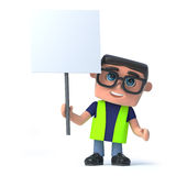 3d Health and safety worker holds up a placard Royalty Free Stock Image