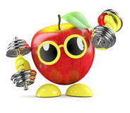 3d Healthy apple work out Stock Photos