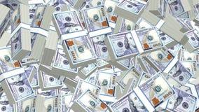 3d heap of dollars cash background loop stock footage