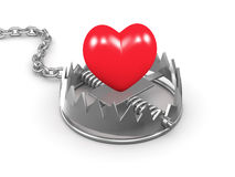 3d Hear in a trap. 3d render of a red heart in a trap Royalty Free Stock Photography