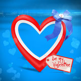 3d heart and bow with valentine's day greetings tag Stock Photos