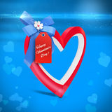 3d heart and bow with valentine's day greetings tag Stock Image