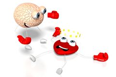 3D heart and brain cartoon characters - boxing, fight royalty free illustration