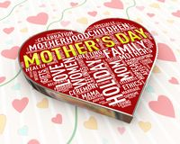 3d heart calligraphic design of happy mothers day vector illustration