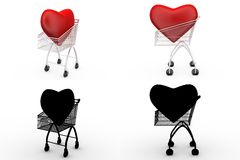 3d heart in cart concept collections with alpha and shadow channel Stock Photography