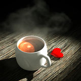 3d Heart and coffee. 3d heart and coffee on the wooden table light Vector Illustration