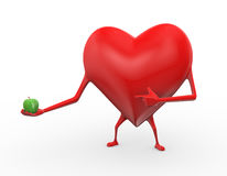3d heart holding apple illustration Stock Images