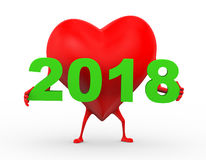 3d heart holding year 2018. 3d rendering of heart character is holding happy new year 2018 Stock Images