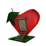 3D heart house. Valentin's day illustration. 3D heart house on a white background stock illustration