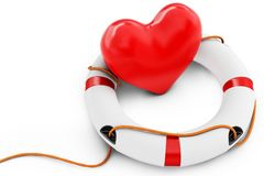 3d heart with lifebuoy Royalty Free Stock Images
