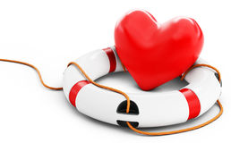3d heart with lifebuoy Royalty Free Stock Photo