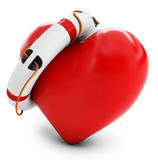3d heart with lifebuoy Stock Photo