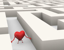 3d heart lost in maze illustration. 3d rendering of confused and lost heart finding path through maze Royalty Free Stock Image
