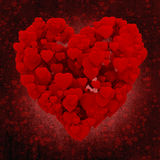 3d heart made of hearts, on grunge background Stock Photography