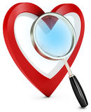 3d heart and magnify glass, concept searching for love Royalty Free Stock Photography