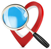3d heart and magnify glass, concept searching for love Stock Images