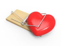 3d Heart in a mousetrap Stock Photography