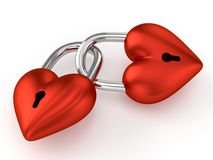 3D Heart Padlocks. 3D Red Heart Padlocks - On White Background Royalty Free Stock Photos