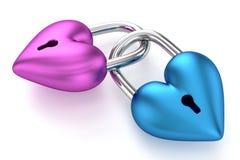 3D Heart Padlocks. On White Background Royalty Free Stock Photos