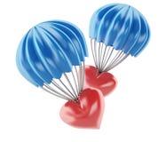 3d heart at parachute. Love concept. 3d illustration. Heart at parachute. Love concept.  white background Royalty Free Stock Photos