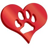 3D heart with pawprint royalty free illustration