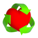 3d Heart with recycle symbol Stock Photography