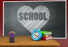 3d heart and school. 3d illustration of blackboard with heart and school text and alarm clock Royalty Free Stock Image
