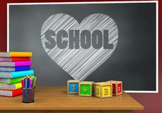 3d heart and school Stock Photography
