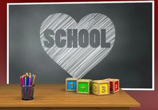 3d heart and school Royalty Free Stock Image