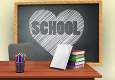 3d heart and school. 3d illustration of grey chalkboard with heart and school text and books stack Stock Photo