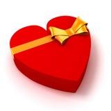 3d heart shape  box and bow Royalty Free Stock Photos