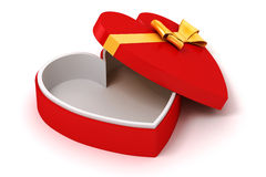 3d heart shape  box and bow Stock Photography