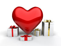 3d heart shape and gift boxes. 3d render of heart shape and gift boxes Stock Photo