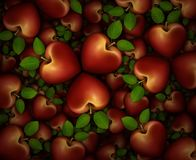 3D Heart Shaped Apples Background. 3D illustration of a dozens of red heart shaped apples arranged in clover like three part groupings Stock Image