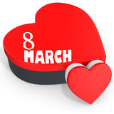 3D heart shaped boxes with Women's Day 8 March Royalty Free Stock Photos