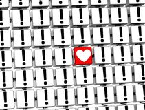3D Heart Sign inside exclamation marks blocks Royalty Free Stock Image