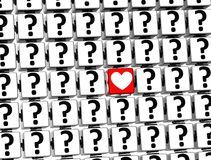 3D Heart Sign inside question marks blocks.  Royalty Free Stock Photos