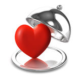 3d Heart on a silver platter Royalty Free Stock Photos