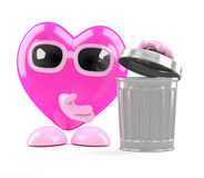 3d Heart takes out the trash Stock Photos
