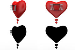 3d heart window concept collections with alpha and shadow channel Stock Photo