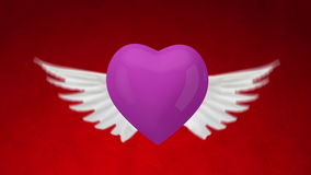 3d heart with wings � close-up Royalty Free Stock Images