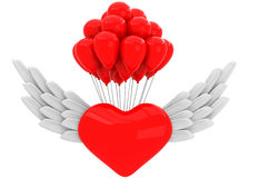 3D Heart with wings and with balloons. On a white background Stock Photo
