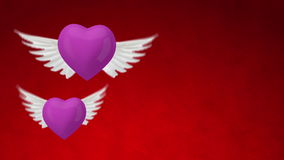 3d heart with wings stock video footage