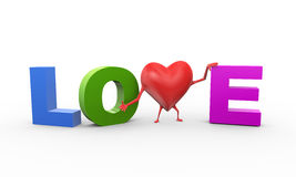 3d heart in word text love Royalty Free Stock Images