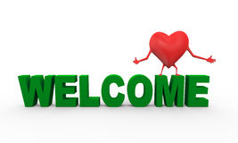 3d heart word welcome illustration Royalty Free Stock Photo
