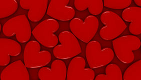 3D hearts background. 3d background made of glossy red hearts Stock Illustration