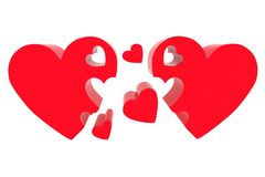 3d hearts family concept Royalty Free Stock Image